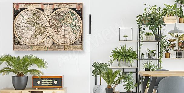 Kartograficzny obraz w starym stylu