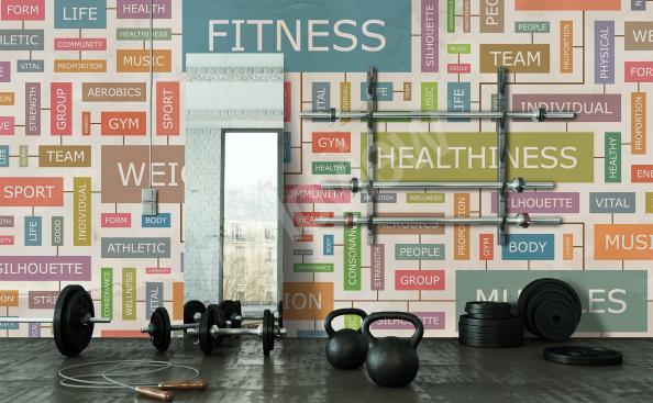 Kolorowa fototapeta do klubu fitness