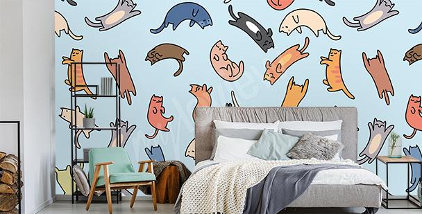 Kolorowa fototapeta koty