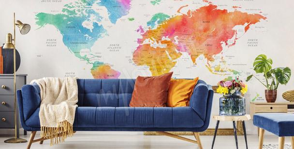 Kolorowa fototapeta mapa świata