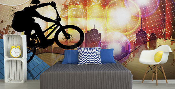 Kolorowa fototapeta z rowerem