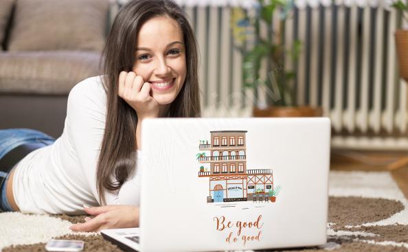 Kolorowe domki naklejka na laptopa