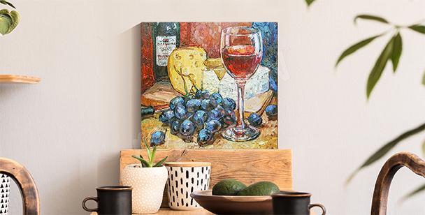 Kolorowy obraz ser i wino