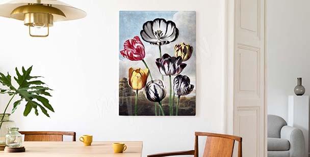 Kolorowy obraz tulipany na tle nieba