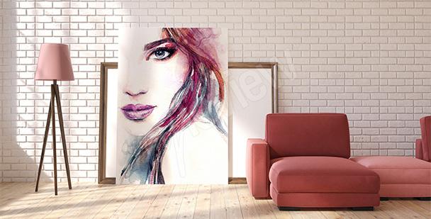 Kolorowy obraz z kobietą