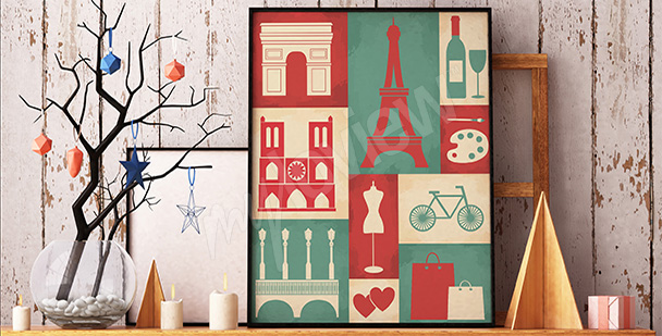 Kolorowy plakat symbole Paryża