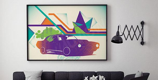 Kolorowy plakat z samochodem