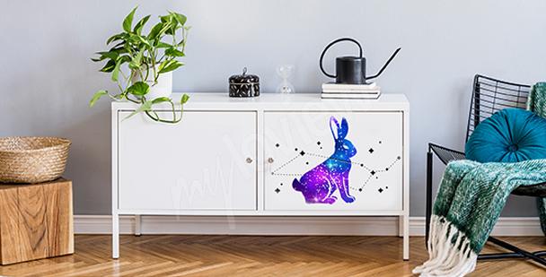 Kosmiczna naklejka z królikiem