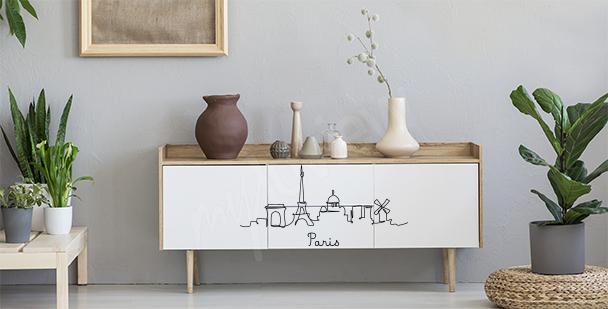 Minimalistyczna naklejka Paryż