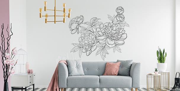 Minimalistyczna naklejka z kwiatami