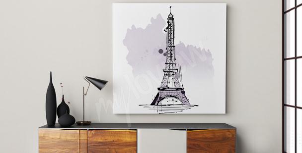 Minimalistyczny obraz Wieża Eiffla