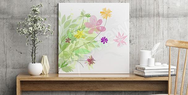 Minimalistyczny obraz z kwiatami