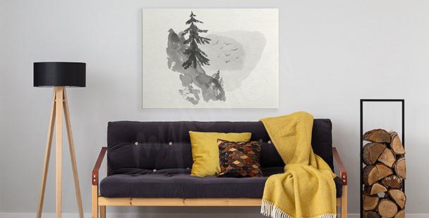 Minimalistyczny obraz z lasem