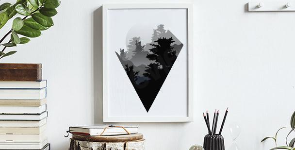 Minimalistyczny plakat z górami