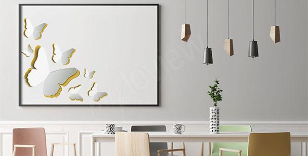 Minimalistyczny plakat z motylami