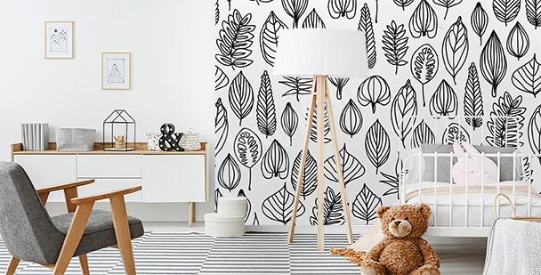 Fototapeta liście malowane akwarelą