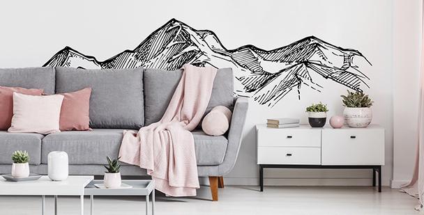 Monochromatyczna naklejka z górami
