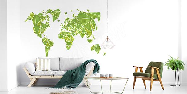 Naklejka 3D z mapą świata