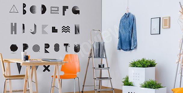 Naklejka czarno-biały alfabet do salonu