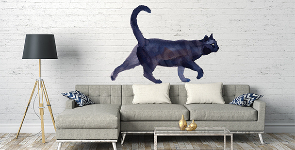 Naklejka czarny kot