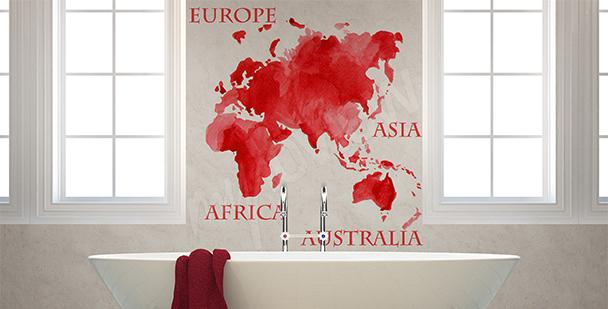 Naklejka czerwona mapa kontynenty