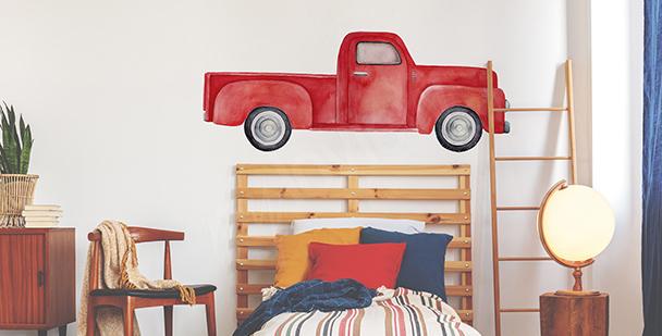 Naklejka czerwony samochód do sypialni