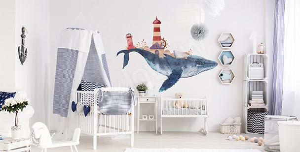 Naklejka do pokoju chłopca wieloryb