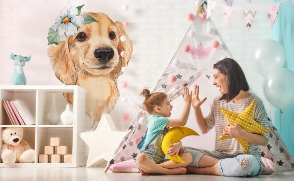 Naklejka do pokoju dziecka uroczy pies