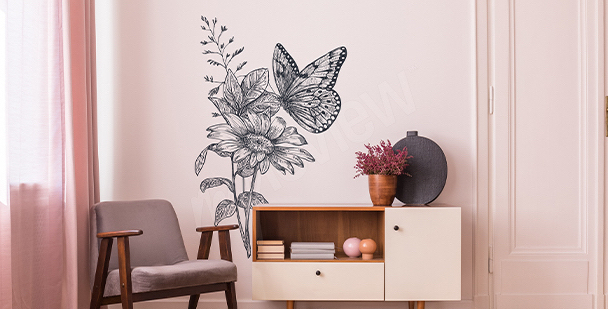 Naklejka szare motyle