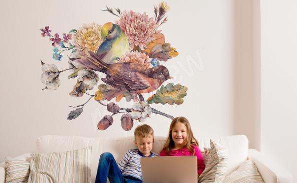 Naklejka do salonu ptaki na gałęzi