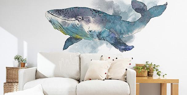 Naklejka do salonu z wielorybem