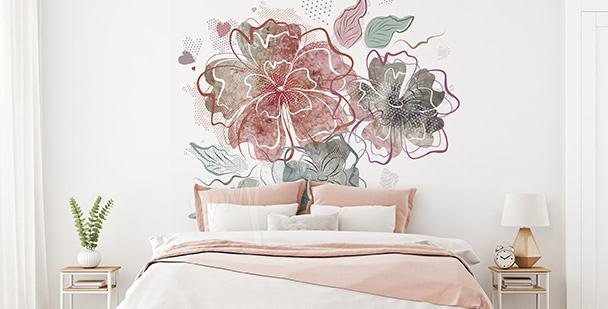 Naklejka do sypialni z kwiatami