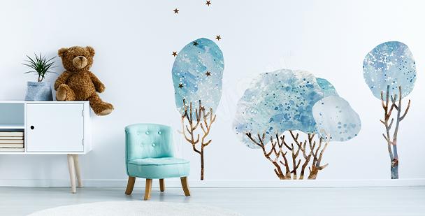Naklejka drzewo i odlatujące ptaki