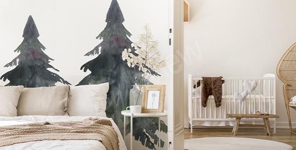 Naklejka czarne i szare drzewa