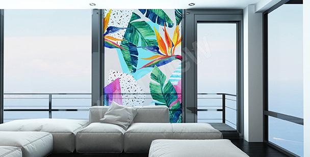 Naklejka egzotyczne kwiaty na okno