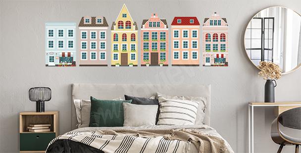 Naklejka europejskie kolorowe domki