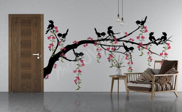 Naklejka gałąź drzewa i ptaki