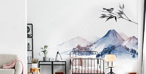 Naklejka góry do sypialni