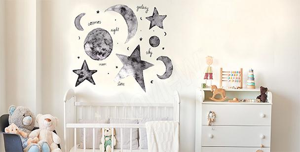 Naklejka gwiazdy i księżyc