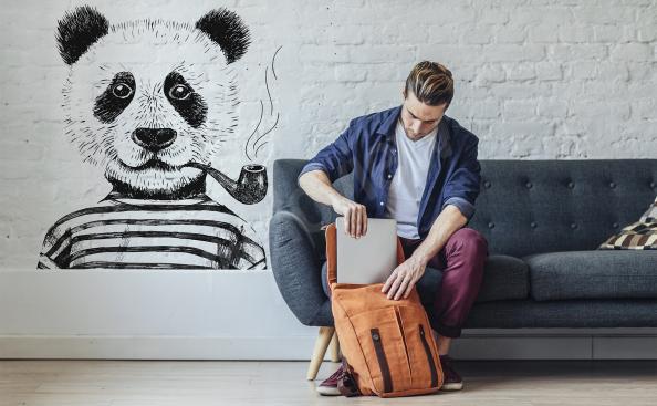 Naklejka hipsterka panda