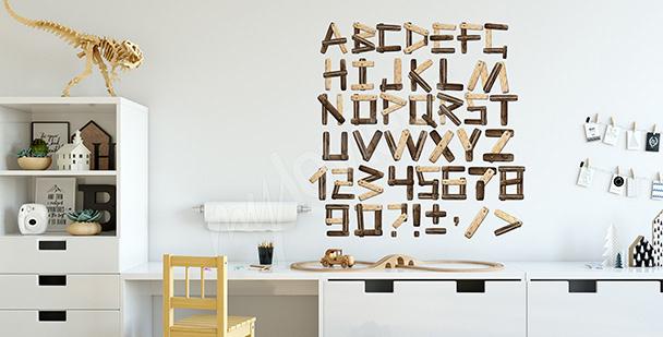 Naklejka imitacja drewnianych liter