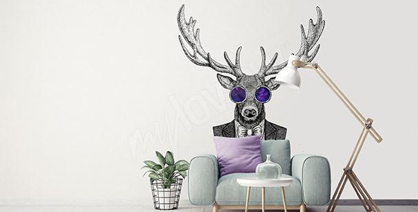 Naklejka jeleń do salonu hipstera