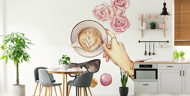Naklejka kawa i róże