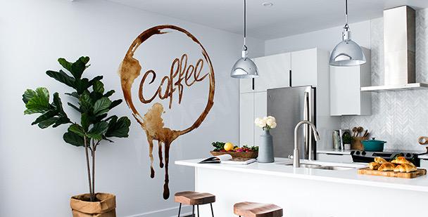 Naklejka kawa w akwareli
