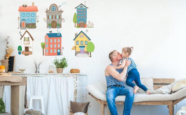 Naklejka kolorowe domki