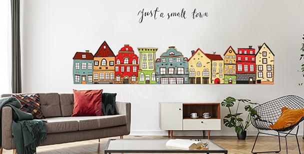 Naklejka kolorowe domki do salonu