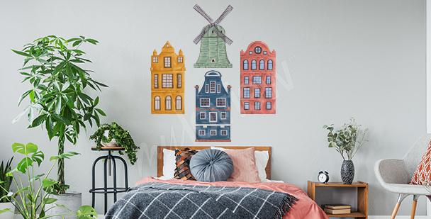 Naklejka kolorowe domki do sypialni