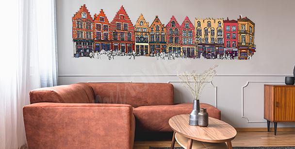 Naklejka kolorowe domki w Belgii