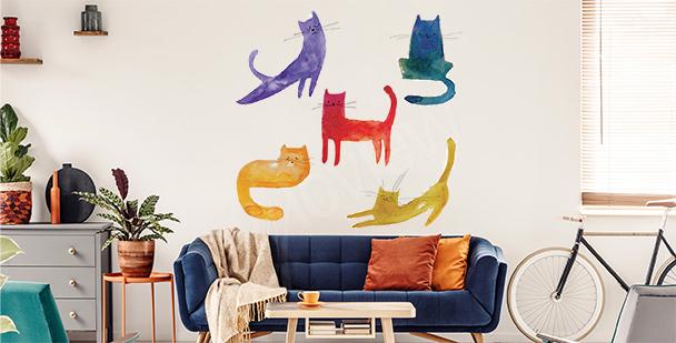 Naklejka kolorowe koty