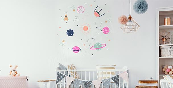 Naklejka kosmos do pokoju dziecka